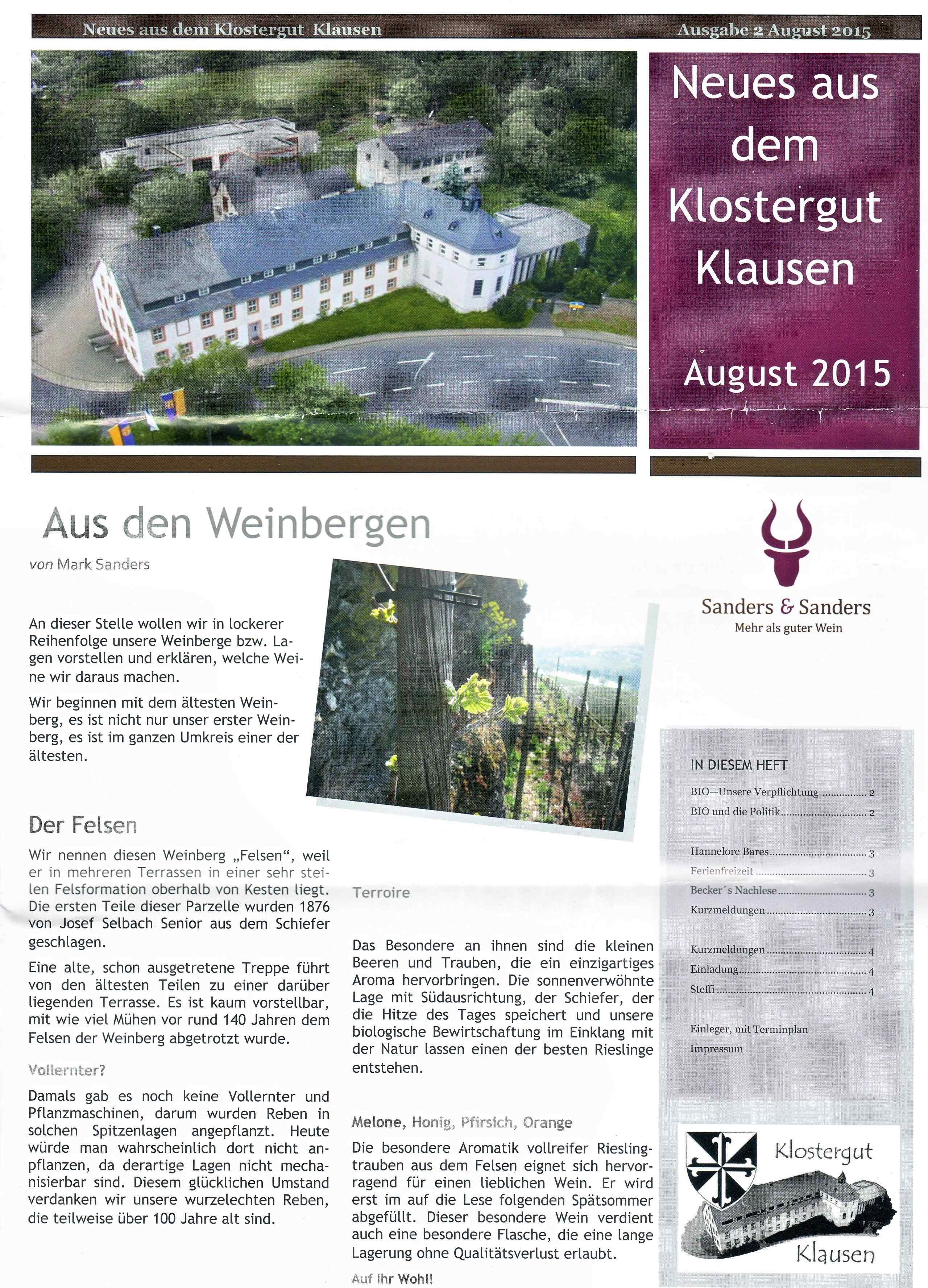 Newsletter August 2015 Klostergut Klausen Saders & Sanders